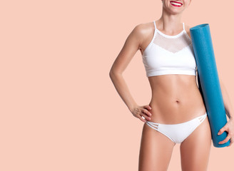 Slim and sporty female body, diet concept