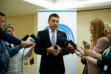 "Macedonian Foreign Minister Nikola Dimitrov speaks to media during the ""Visegrad-4 plus Balkan-4 plus"" meeting in Sounion"