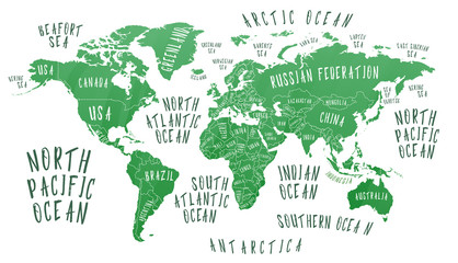 Earth map with the name of the countries