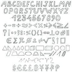 Collection of school signs. Hand-drawn font, numbers, mathematical symbols, geometric shapes, punctuation marks, arrows and currency icons, set. Vector illustration.