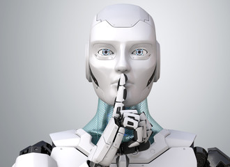 Robot with finger on lips asking for silence