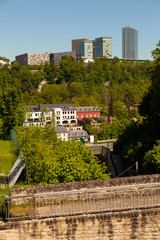 Luxembourg city old quarter - vue sur le  Kirchberg
