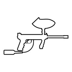 Weapons for paintball icon black color illustration flat style simple image