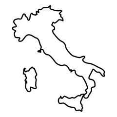 Map of Italy icon black color illustration flat style simple image