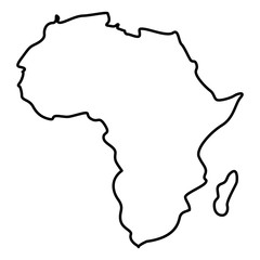 Map of Africa icon black color illustration flat style simple image
