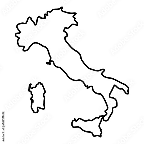 Simple Map Of Italy.Map Of Italy Icon Black Color Illustration Flat Style Simple Image
