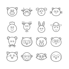 Collection of vector line animals icons for web design