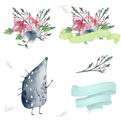 hedgehog watercolor bounquet design flowers bounquet data spring green Ribbons and frame drawing illustration geometric clip art for birthday party print celebration data text on white background