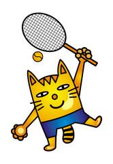 A cartoon cat tennis player. Yellow-orange cat in blue shorts. The cat beats the tennis ball. Vector graphics.