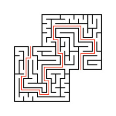 Abstract square maze with entrance and exit. Simple flat vector illustration isolated on white background. With a place for your drawings. With the answer.