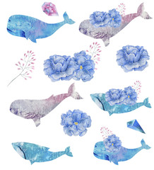 Whale watercolor fatasy whale Flowers and Crytstal flying blue Bounquet sea deep character drawing illustration geometric clip art for birthday party print celebrationon white background