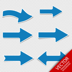 Blue Arrows - Right And Left Direction - Vector Set - Isolated On Transparent Background