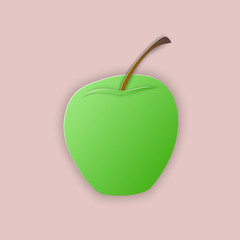 Vector illustration, green apple in papercut style with transparent shadows isolated on pink background