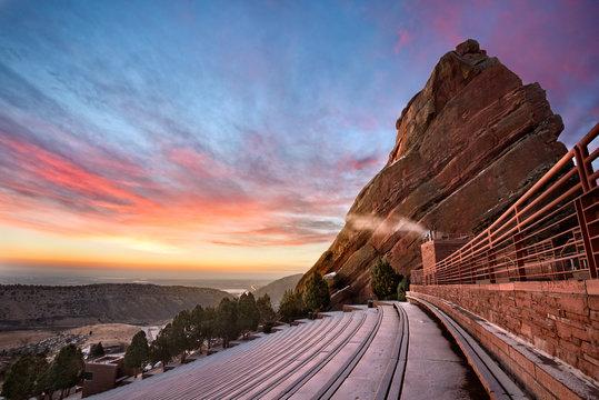 Red Rocks at sunrise in the winter, near Denver Colorado