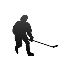 Silhouette of hockey player. Isolated on white background.