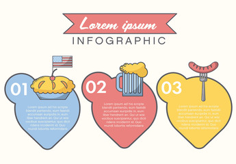 American Summer Holiday Presentation Graphics with Pictogram