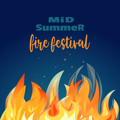 Midsummer holiday fire festival poster. Bonfire night. Colorful cartoon flame sign. Burning flaming campfire. Fireplace in summer camp party banner template, flyer background. Vector illustration