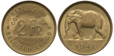 Belgian Congo coin two francs 1947, denomination in French and Flemish, African elephant walking, colonial times,