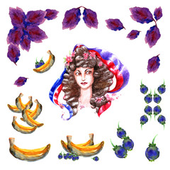 Picture of a watercolor girl with a red violet blue ribbon hairstyle curls bananas purple leaves vegetation nature blueberry and blueberry berry isolated on white background objects