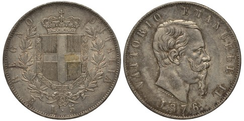 Italy, Italian coin, five lira 1876, shield at center surrounded by collar of the order, crown on top, King Victor Emanuele II head right, silver,