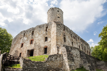 BABICE, POLAND - MAY 1, 2018: Old castle Lipowiec. Historic castle Lipowiec and antique building museum.The ruins of the castle on the top of the mountain