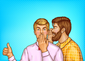 Vector pop art brown haired man with beard whispers about sales or secrets to the ear of surprised blonde guy in pink shirt. Shocked man shows thumbs up on blue background