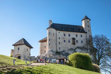 BOBOLICE, POLAND - APRIL 28, 2018: Castle and hotel in Bobolice, Poland, Jura Krakowsko-Czestochowska. Castle in eagle nests style. Built during the reign of  Kazimierz Wielki.
