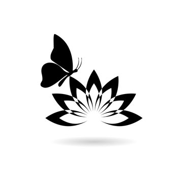 Beautiful lotus flower and Butterfly icon