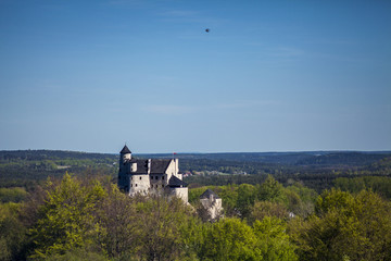 Ruins of a Gothic castle in Bobolice, Poland. Castle in the village of Bobolice, Jura Krakowsko-Czestochowska. Castle in eagle nests style. Built during the reign of  Kazimierz Wielki.