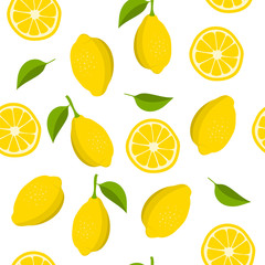 Lemon and slices of lemon pattern. Summer background with yellow lemons. Vector illustration
