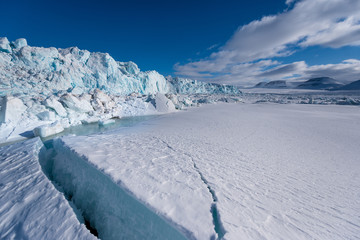 norway landscape nature of the glacier mountain of Spitsbergen Longyearbyen  Svalbard   arctic winter  polar sunshine day  sky