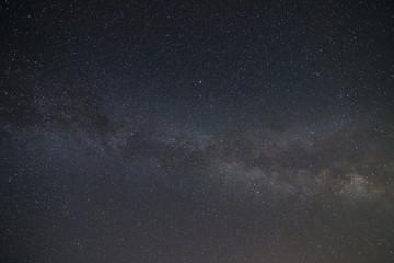 Starry night sky with Milky Way going across the sky horizontally