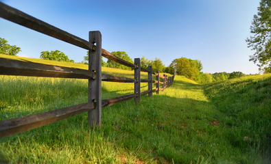 """The Fence"" americana series a rustic wood fence runs along a lush green pasture"