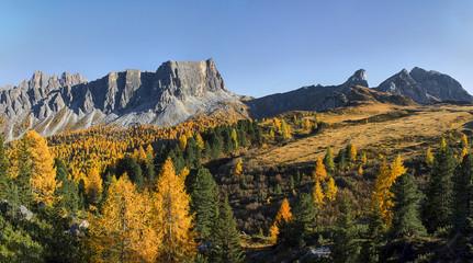 Passo Falzarego, Dolomites, Italy - view from the top of the Rifugio Lagazuoi