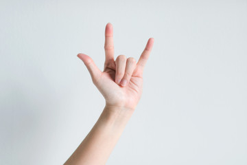 Hand signs meaning I love you.