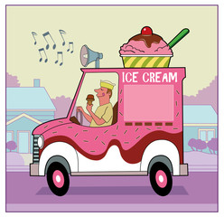 Ice Cream Truck / An ice cream truck drives down a suburban street.