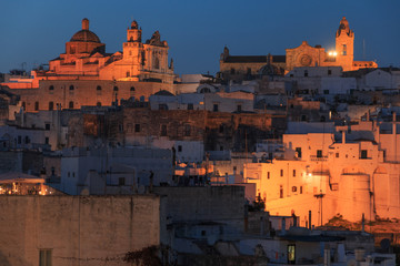 """Italy, SE Italy, Ostuni. City scape of Old town. The """"White City""""."""