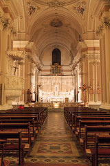 Italy, SE Italy, Brindisi. Ostuni. Old City, Interior. 14th C. neo-classical  Architecture of St. Francesco d'Assisi Church.