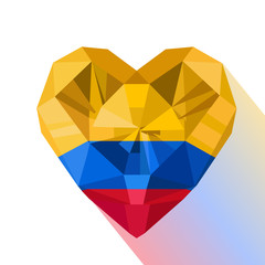 Vector crystal gem jewelry Colombian heart with the flag of the Republic of Colombia. Flat style logo symbol of love Colombia. Flag Day
