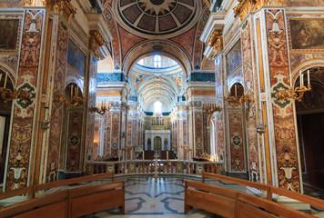 Italy, SE Italy,  province of Bari, region of Apulia, Monopoli. Roman Catholic Cathedral, the Basilica of the Madonna della Madia or Santa Maria della Madia.  Interior.