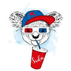 Koala in 3d glasses and a glass of soda. Vector illustration.