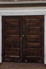 dark wooden double door