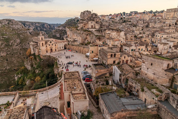 Italy, Southern Italy, Region of Basilicata, Province of Matera, Matera. Small cobblestone streets and stairways of the town. Overview.