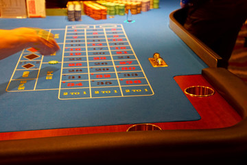 Roulette table in the casino on a cruise ship