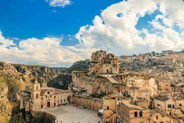 Italy, Southern Italy, Region of Basilicata, Province of Matera, Matera. The town lies in a small canyon carved out by the Gravina.