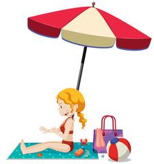 Young Girl Apply Cream at Beach
