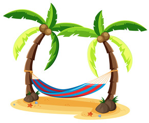 Coconut Tree and Hammock on White Background