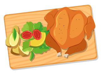 Roasted Chicken and Salad on Wooden Board
