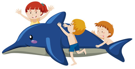 Kids Playing with Inflatable Dolphin