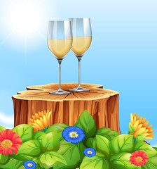 White Wine in Nature Scene